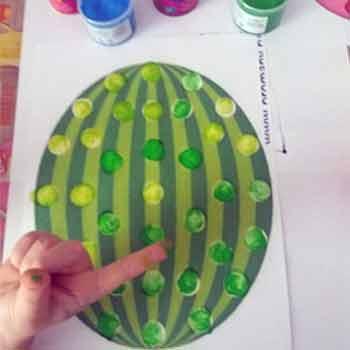 Шаблон для пальчикового рисования арбуз