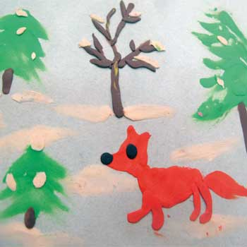 Картина из пластилина Лиса в лесу