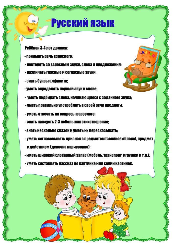 Что должен уметь ребенок 3-4 года русский язык