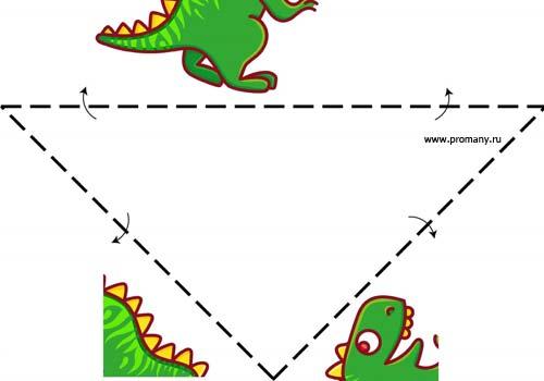 сгибалки оригами динозавр