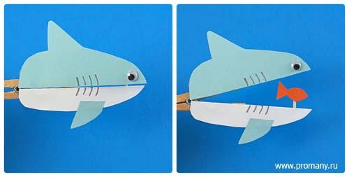 игры с прищепками акула
