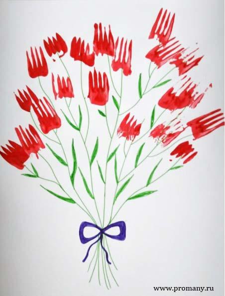рисуем вилкой цветы