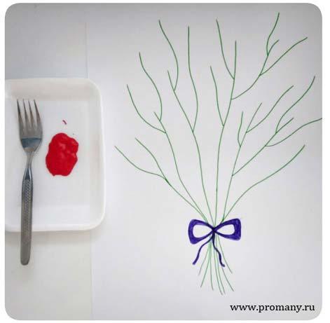 рисование вилкой цветы