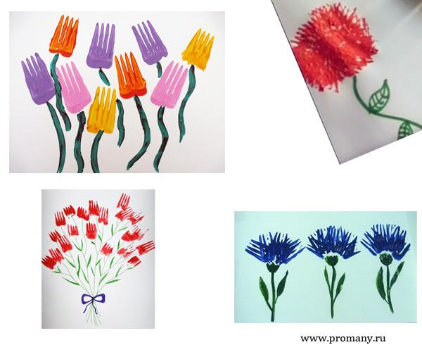 рисуем вилкой тюльпаны, астра, васильки
