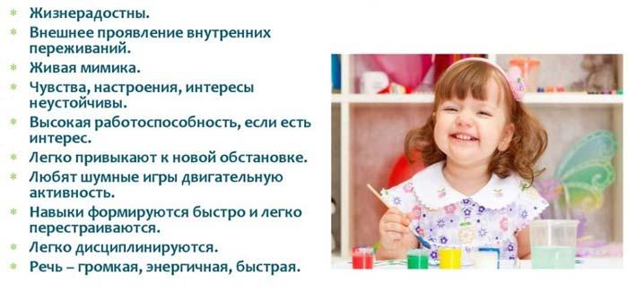 темперамент ребенка сангвиник