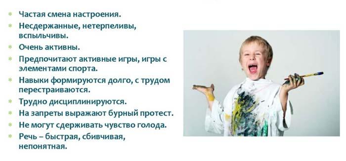 темперамент ребенка холерик