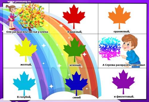 мнемотаблица для дошкольников цвета радуги