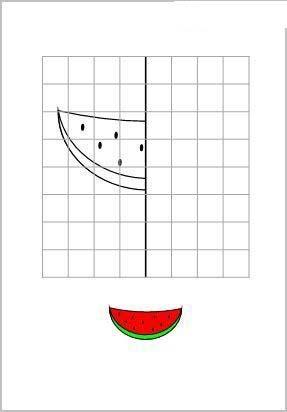 рисуем по клеточкам арбуз