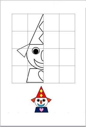 рисунок по клеточка клоун