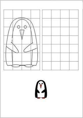 пингвин рисование по клточкам